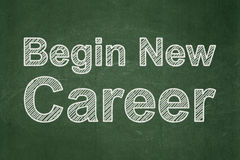 Business concept: Begin New Career on chalkboard background. Business concept: text Begin New Career on Green chalkboard background stock image