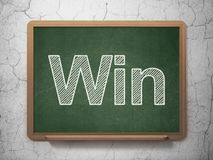 Business concept: Win on chalkboard background. Business concept: text Win on Green chalkboard on grunge wall background, 3D rendering Royalty Free Stock Photography