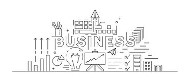 Business Concept Theme Line Art Design. Black And White Doodle Style. Flat And Youth Modern Vector. Thin Line Design royalty free illustration