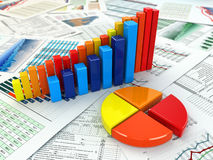 Business concept. Three-dimensional graph and charts. Stock Photo