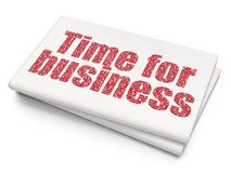 Business concept: Time for Business on Blank Newspaper background. Business concept: Pixelated red text Time for Business on Blank Newspaper background, 3D Stock Photos