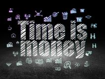 Business concept: Time is Money in grunge dark room. Business concept: Glowing text Time is Money,  Hand Drawn Business Icons in grunge dark room with Dirty Royalty Free Stock Photo