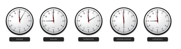 Business Concept - Time Zone Clocks Royalty Free Stock Photo