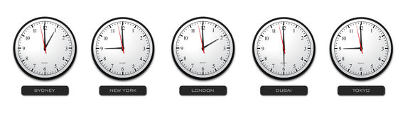 Business Concept - Time Zone Clocks Royalty Free Stock Photography