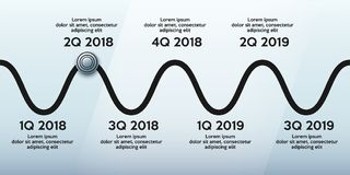 Business concept of timeline roadmap. Task execution plan in road map style. Wave path with points. Infographic for investors. Vector Illustration stock illustration
