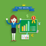 Business concept of top seller, Vector illustration Royalty Free Stock Photo