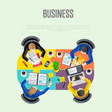 Business concept. Top view workspace background Royalty Free Stock Photos