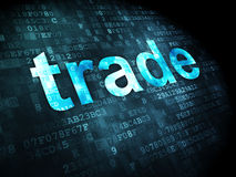 Business concept: Trade on digital background. Business concept: pixelated words Trade on digital background, 3d render Royalty Free Stock Image