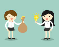 Business concept, Two business women give idea and money for exchange. Vector illustration. Royalty Free Stock Photo