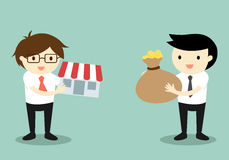Business concept, Two businessmen exchange money and shop. Vector illustration Stock Image
