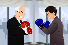 Business concept of two businessmen fighting. A vector illustration of two businessmen in business suits facing off with boxing gloves for business concept Stock Photo