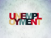 Business concept: Unemployment on digital. Business concept: Painted multicolor text Unemployment on Digital Paper background, 3d render Royalty Free Stock Images