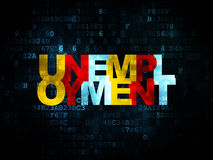 Business concept: Unemployment on Digital. Business concept: Pixelated multicolor text Unemployment on Digital background, 3d render Royalty Free Stock Photo