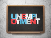 Business concept: Unemployment on School Board. Business concept: Painted multicolor text Unemployment on School Board background with  , 3d render Stock Image