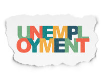 Business concept: Unemployment on Torn Paper. Business concept: Painted multicolor text Unemployment on Torn Paper background, 3d render Royalty Free Stock Image