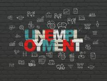 Business concept: Unemployment on wall background. Business concept: Painted multicolor text Unemployment on Black Brick wall background with  Hand Drawn Royalty Free Stock Images