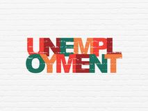 Business concept: Unemployment on wall background. Business concept: Painted multicolor text Unemployment on White Brick wall background Stock Photo