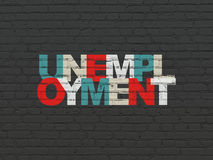 Business concept: Unemployment on wall background. Business concept: Painted multicolor text Unemployment on Black Brick wall background, 3d render Stock Photos