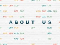 Business concept: About us on wall background. Business concept: Painted blue text About us on White Brick wall background with Currency Royalty Free Stock Photos