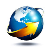 Business concept in Usa. Glass globe with arrow vector illustration