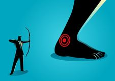 Achilles` Heel. Business concept vector illustration of businessman as an archer aiming giant feet`s heel, idiom for Achilles` heel, a weak point or fault in Stock Image