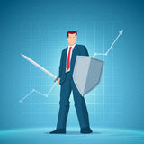 Business concept vector illustration. Business concept illustration. Businessman holding a sword and shield. Chart on background. Elements are layered separately Stock Photography