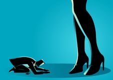 Businessman prostrated under female high heels. Business concept vector illustration of a businessman prostrated under female foot Royalty Free Stock Image