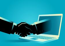 Online Business Deals. Business concept vector illustration of a businessman shake hands with a hand comes out from a lap top computer Stock Photo