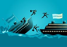 Businessmen abandon sinking ship. Business concept vector illustration of businessmen abandon sinking ship, to leave a failing organization or bad situation Royalty Free Stock Photos