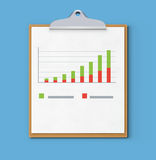 Business concept. Vector illustration of business concept with clipboard, finance graph or productivity chart Stock Images