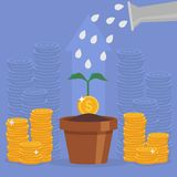 Business concept vector illustration in flat style. Money investment concept. Money Growth. Business person watering money tree. Dollar coins stack Royalty Free Stock Image