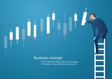 Business concept vector illustration of a man on ladder with candlestick chart background, concept of stock market.  vector illustration