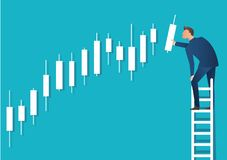 Business concept vector illustration of a man on ladder with candlestick chart background, concept of stock market.  stock illustration