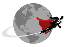 Businessman flying around the world. Business concept vector illustration of a super businessman flying around the world, going global, go international concept Stock Images