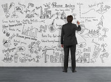 Business concept on wall Royalty Free Stock Photos