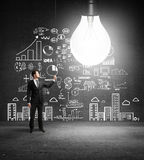 Business concept on wall Stock Photos