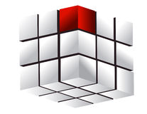 Business concept - white cube with one small red d Stock Image