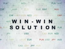 Business concept: Win-win Solution on Digital Data Paper background. Business concept: Painted black text Win-win Solution on Digital Data Paper background with Stock Photo