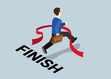Business concept winning finish challenge flat 3d web isometric. Business concept winning finish of challenge flat 3d web isometric infographic vector Stock Photo