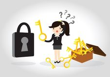 Business Concept. Business woman are confused to find the key to open the lock Royalty Free Stock Photography