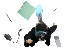 Business concept: woman between office items Stock Photos