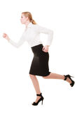Business concept. Woman running in full body isolated Royalty Free Stock Photos