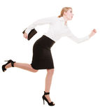 Business concept. Woman running in full body isolated Royalty Free Stock Photography