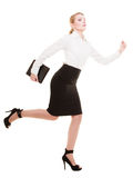 Business concept. Woman running in full body isolated Stock Photo