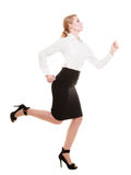 Business concept. Woman running in full body isolated Stock Photography