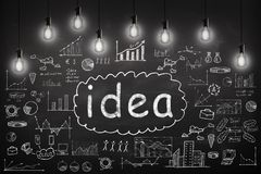 Business concept - sketch with schemes and graphs on chalkboard. Business concept - word `Idea `, sketch with schemes and graphs on chalkboard Royalty Free Stock Photo