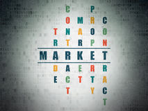 Business concept: word Market in solving Crossword. Business concept: Painted blue word Market in solving Crossword Puzzle on Digital Paper background, 3d render Royalty Free Stock Photos