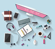 Business concept - work concept - flat design - place of work. Flat design - place of work - Top view of desk that have one desktop and many others objects ( Stock Photo