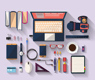 Business concept - work concept - flat design - place of work. Flat design of place of work - Top view of desk that have one laptop and many others objects ( Royalty Free Stock Photos