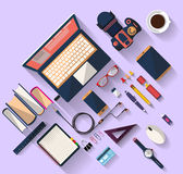 Business concept - work concept - flat design - place of work. Flat design of place of work - Top view of desk that have one laptop and many others objects ( Stock Image
